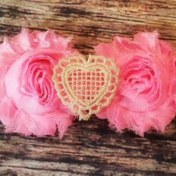 Pink with Gold Lace Heart Headband - Baby Girl
