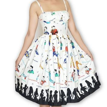Paris Dress in Rockabilly Idol Print