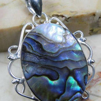 Abalone 925 Sterling Silver Overlay Pendant Of: 46mm ,BringsHarmony In Relationships, Gifts Under 10,20,30,Silver Pendant,UK Seller
