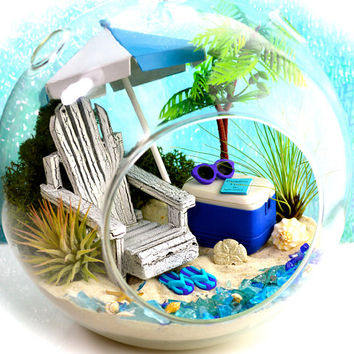 "Beach Terrarium Kit ~ 7"" Air Plant Terrarium Kit ~ Coastal Living Beach Decor ~ Beach Chair ~ Palm Tree ~ FlipFlops ~ Cooler ~ Gift Idea"