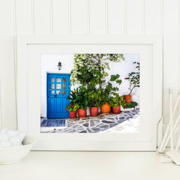 Greece photography, printable, blue door, digital download, travel photography, Greek home, cobblestone, flower pots, wall art, home decor