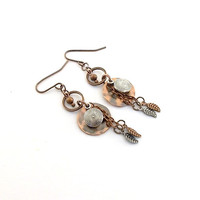 Earrings Antique Copper With Silver Swirl Charms and Silver and Copper Leaves