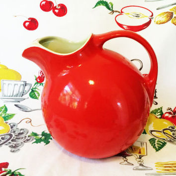 Hall China Red Ball Pitcher Vintage Kitchen