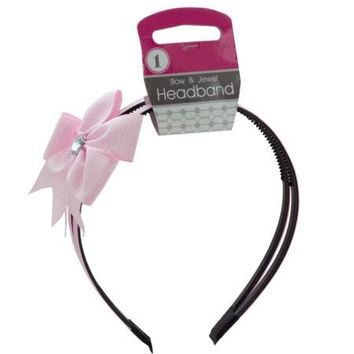 Alice Headband with Bow & Jewel Accent (Available in a pack of 12)