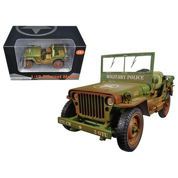 US Army WWII Jeep Vehicle Military Police Green Weathered Version 1/18 Diecast Model Car-by American Diorama