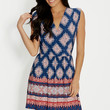 wrap front dress in medallion print