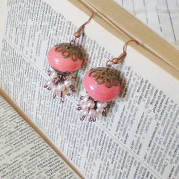 Copper Coral Beaded Bauble Earrings Spring by RetroRevivalBoutique