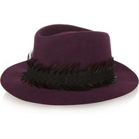 Maison Michel - Andre feather and suede-trimmed rabbit-felt fedora