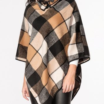Streetstyle  Casual Turtle Neck Plaid Printed Cape