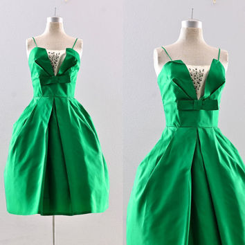 vintage 1950s dress - emerald green party dress  / 50s ball gown