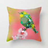 Green bird Throw Pillow by Deniz Erçelebi