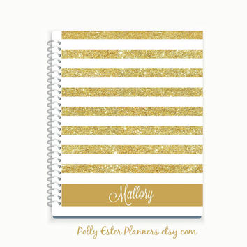 Personalized Journal, Custom Notebook, Gold Sailor Striped Cover Notebook, Personalized Gift, Journal Diary, Personal Sketchbook Doodle Book