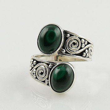 Malachite Sterling Silver Adjustable Ring