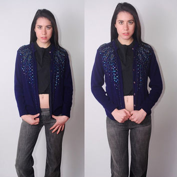 Vintage 1950s 60s Navy blue wool SEQUIN embellished button down long sleeve beaded cardigan sweater