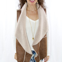 Drape Front Faux Shearling Vest by Dylan