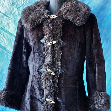 70's Coat Brown Sheared Fur Russian Princess Coat with Faux Fur Trim, Leather and Wooden Buttons