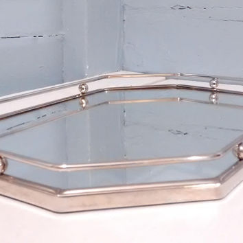 Vintage, Mirrored Vanity Tray, Art Deco, Octagon, Silver, RhymeswithDaughter