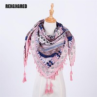 Hot Sale New Fashion Woman Scarf Square Scarves Tassel Printed Women Wraps Winter Autumn Ladies Shawls