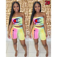 Champion Summer Newest Women Casual Tie-Dye Gradient Strapless Top Shorts Set Two-Piece 2#