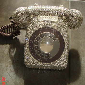 1970 GPO Vintage Telephone with Silver Crystals