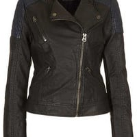 Faux Leather Biker Jacket - Jackets   - Clothing