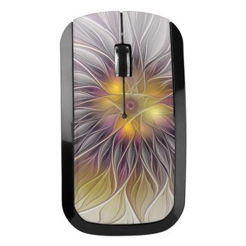 Luminous Colorful Flower, Abstract Modern Fractal Wireless Mouse