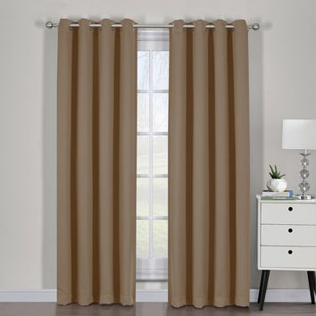 Cappuccino Ava Blackout Weave Curtain Panels With Tie Backs Pair (Two Panels )
