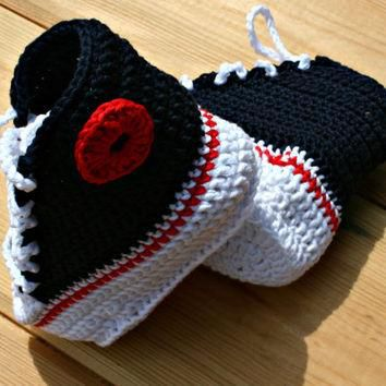 MADE TO ORDER crochet baby converse style boots navy blue white red 0 - 3m / 3 - 6m P