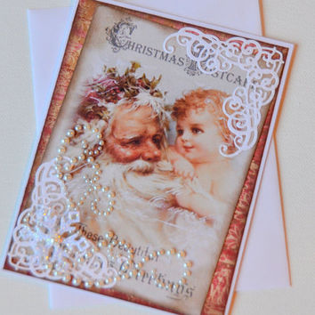 Old World Santa and Child Vintage Style Handmade Holiday Greeting Card, Blank Victorian Paper Ephemera Post Card Christmas Paper Craft