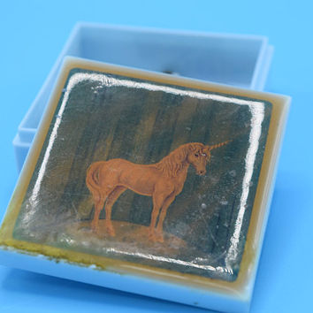 Small Unicorn Box Vintage Unicorn Pill Box Trinket Compact Jewelry Holder Mythical Being Unicorn Art Gift for Her Child Little Girl