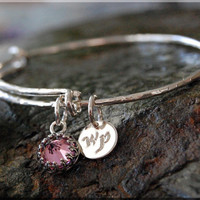 October Birthstone Expandable Bangle Bracelet, Adjustable Bangle, Pink CZ Sterling Silver Bangle, Pink Signature The Wrapped Pixie Bangle