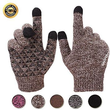 Achiou Winter Warm Touchscreen Gloves for Women Men Knit Wool Lined Texting