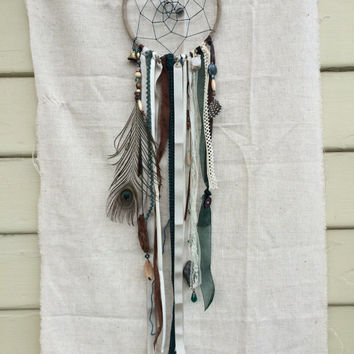 Handmade Small Woodsy Cream and Teal Peacock Dream Catcher