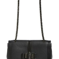 Christian Louboutin 'Small Sweet Charity' Studded Bow Flap Shoulder Bag - Black