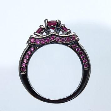 Black Gold Maleficent Movie Disney Inspired Ring Ruby Accent Villain Purple Red Stone