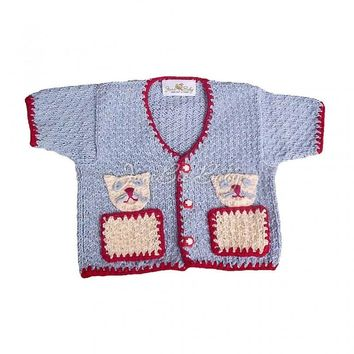 My Playful Kittens Hand-knit Baby Cardigan Size 2T
