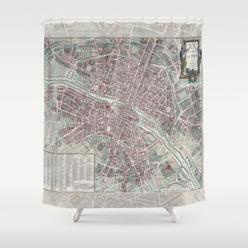 Paris Street Map Shower Curtain - Plan de Paris, France - vintage French Travel Inspired  Home Decor,  cottage chic Bathroom