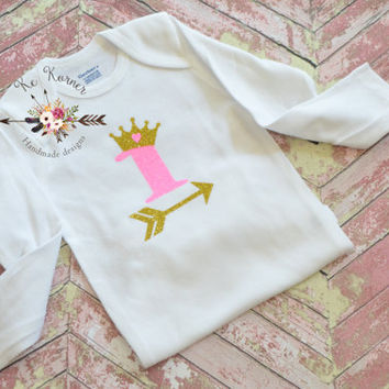 Long sleeve Onesuit, baby 1st birthday, smash cake, arrow Onesuit, witchcraft Onesuit, baby fashion, glitter Onesuit, baby shower, baby