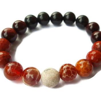 Fire agate bracelet, Bonfire bracelet, Red & Black, Obsidian, Fire Agate, Red Jasper Dark Soul Fire Soul