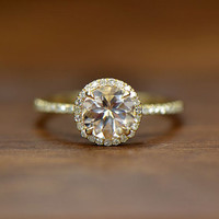 7mm Round Cut VS Halo Morganite Ring 14K Yellow Gold SI/H Diamonds Wedding Ring /Engagement Ring/ Promise Ring