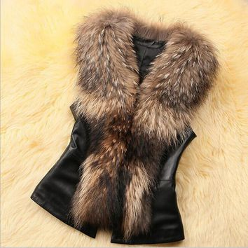 2017 Autumn Women Brown Plus Size Faux Fur Vest Winter Slim Fit Long Faux fur Coat Women Gilet  Rabbit Fur Vest Long Coat z30