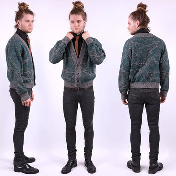 Vintage Mens Cardigan / Green Lambswool Cardi / Geometric / Medium