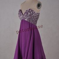 Purple Beaded Short Bridesmaid Dresses with Peacock Neckline, Formal Prom Dresses,Wedding Party Dresses,Party dresses,Homecoming Dresses