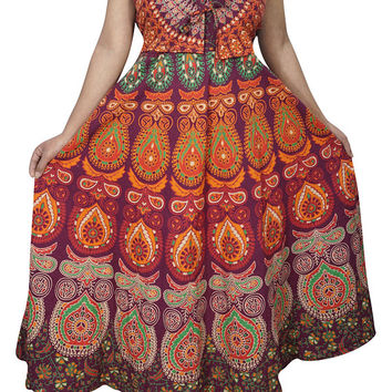 Spring Summer Comfy Maxi Dress Block Print Lilly Sleeveless With V Neck Cotton Handloom Boho Chic Sundress M/L