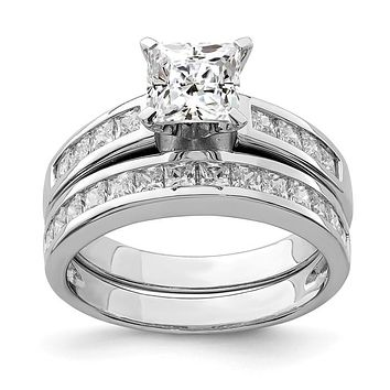 Sterling Silver 2-Piece CZ Princess Cut Channel Set Wedding Ring Set