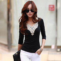 Lace Patchwork V-Neck Casual Top