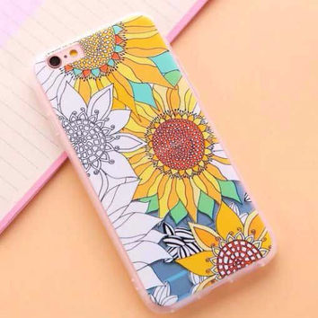 "Coloring Book Sunflower Case for iPhone 6 6S 4.7""  6 6s Plus 5.5"" Fun"