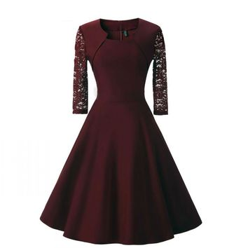 New Women Sexy Lace burgundy Evening Dresses Cotton A-Line Short Sleeve Casual Midi Party Dress evening prom Gown