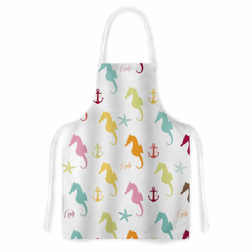 "afe images ""Colorful Seahorse Pattern"" Orange Yellow Illustration Artistic Apron"