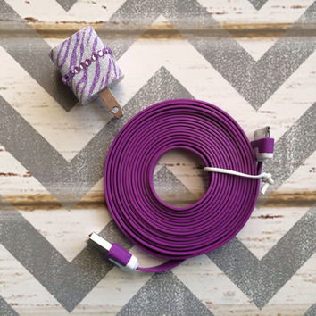 New Super Cute Purple Glitter Cheetah Print Designed USB Wall Connector + 10ft Flat Purple iPhone 4/4g/4s Cable Cord